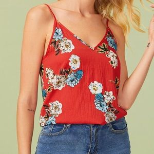 🦉/ SHEIN Double V Red Floral Cami Tank Size L